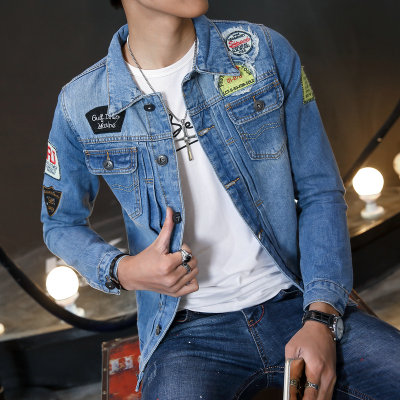 Badge-Denim-font-b-Jacket-b-font-font-b-Men-b-font-Ripped-font-b-Jean